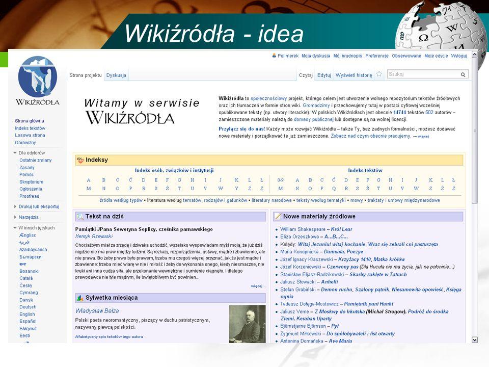 Wikiźródła - idea Pierwotny zamysł: projekt siostrzany Wikipedii gromadzący źródłowe teksty potrzebne do ilustrowania treści tej encyklopedii, tworzon