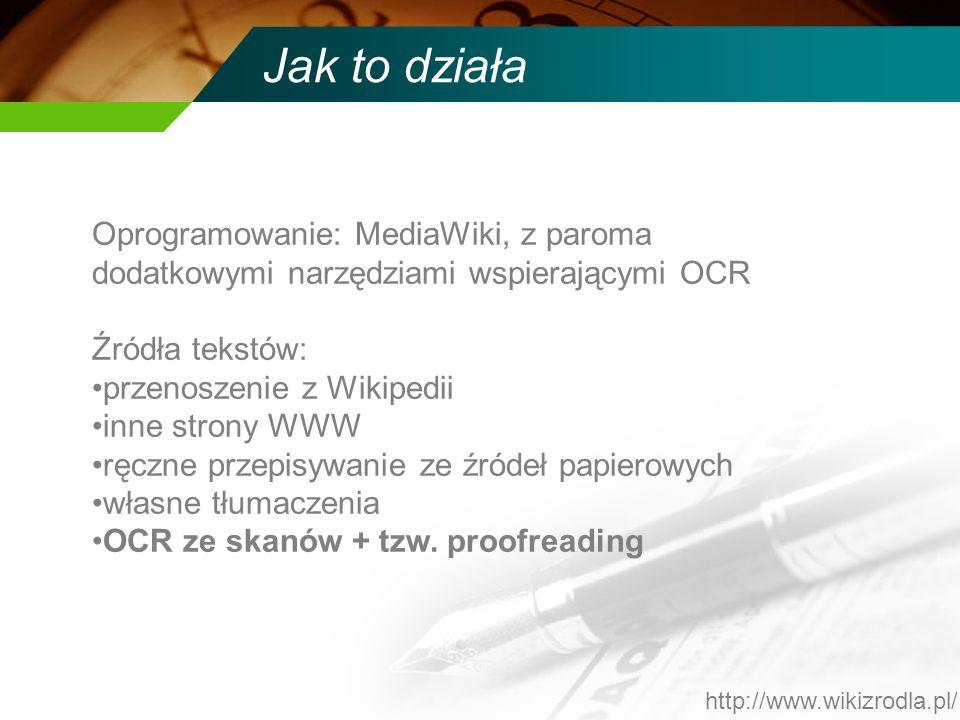 Jak to działa Oprogramowanie: MediaWiki, z paroma dodatkowymi narzędziami wspierającymi OCR Źródła tekstów: przenoszenie z Wikipedii inne strony WWW r