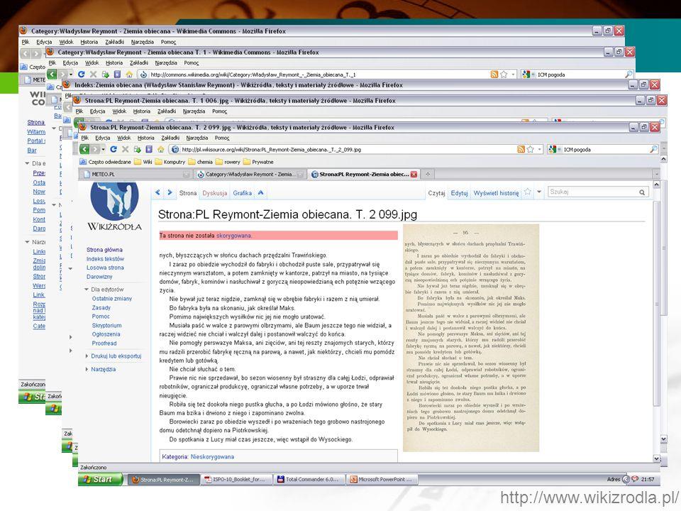 Proces produkcyjny z OCR Robimy skany książki samemu i ładujemy je do Wikimedia Commons lub pobieram skany w formacie djv z którejś z bibliotek cyfrow