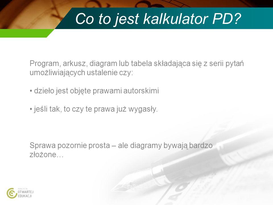 Co to jest kalkulator PD? Program, arkusz, diagram lub tabela składająca się z serii pytań umożliwiających ustalenie czy: dzieło jest objęte prawami a