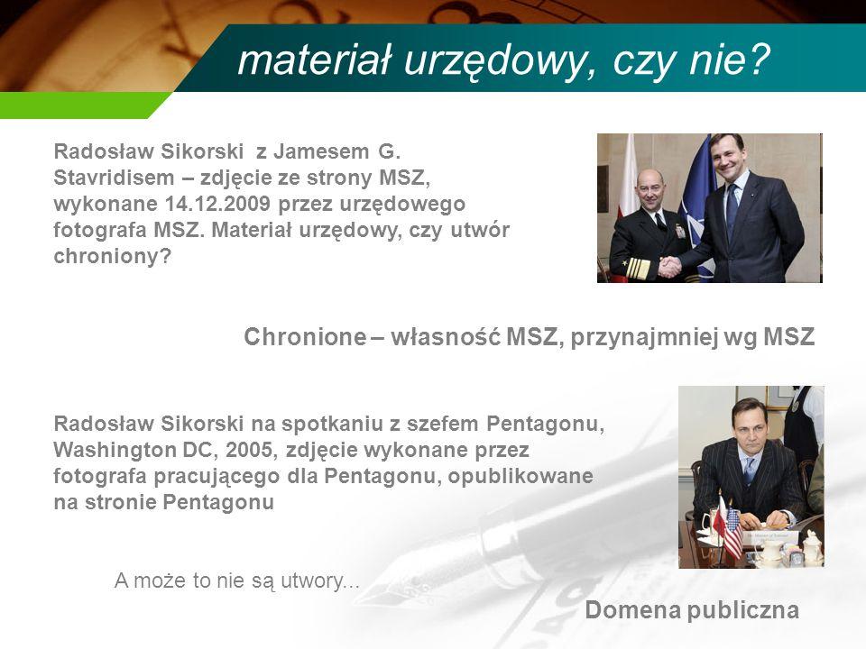 materiał urzędowy, czy nie? Radosław Sikorski z Jamesem G. Stavridisem – zdjęcie ze strony MSZ, wykonane 14.12.2009 przez urzędowego fotografa MSZ. Ma