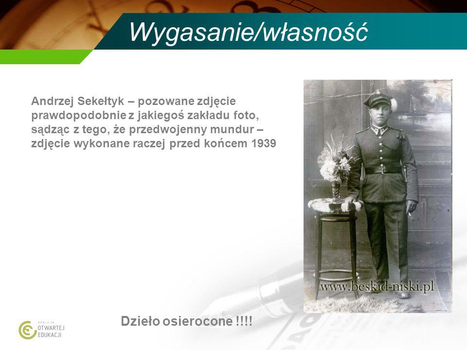 Wygasanie/własność Andrzej Sekełtyk – pozowane zdjęcie prawdopodobnie z jakiegoś zakładu foto, sądząc z tego, że przedwojenny mundur – zdjęcie wykonan