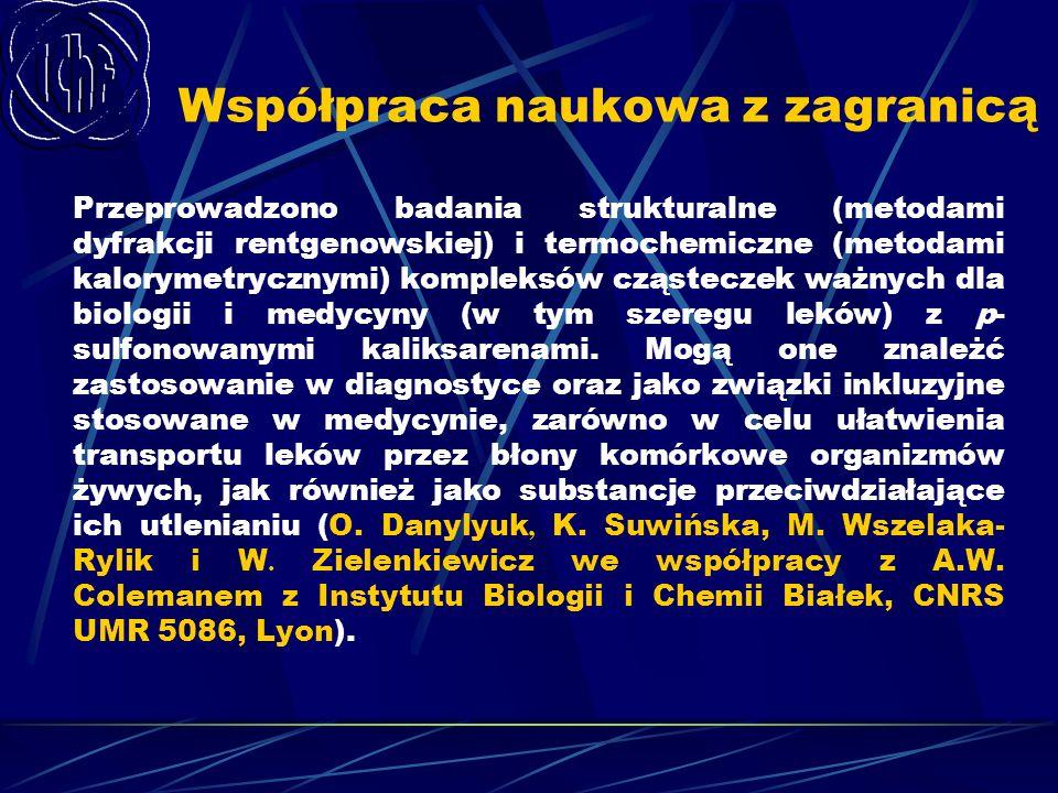 Współpraca naukowa z zagranicą Przeprowadzono badania strukturalne (metodami dyfrakcji rentgenowskiej) i termochemiczne (metodami kalorymetrycznymi) k