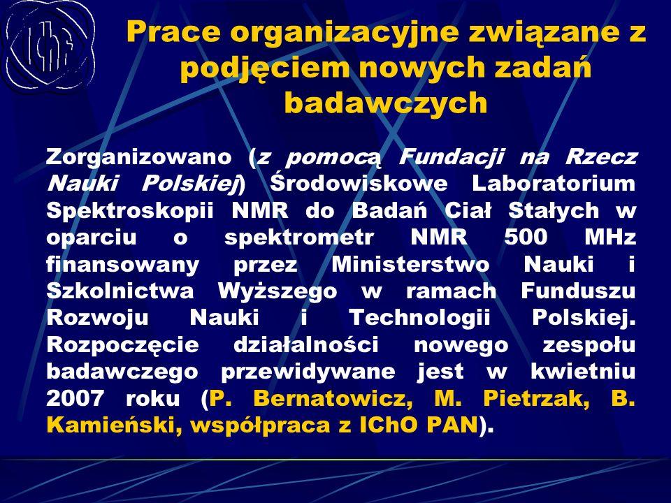Prace organizacyjne związane z podjęciem nowych zadań badawczych Zorganizowano (z pomocą Fundacji na Rzecz Nauki Polskiej) Środowiskowe Laboratorium S