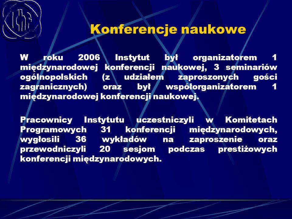 Konferencje naukowe W roku 2006 Instytut był organizatorem 1 międzynarodowej konferencji naukowej, 3 seminariów ogólnopolskich (z udziałem zaproszonyc