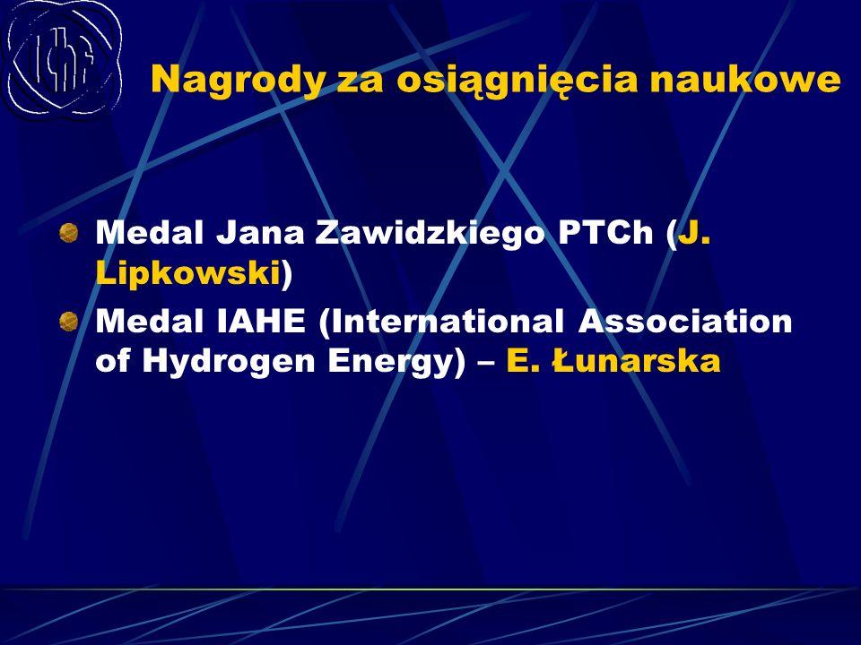 Nagrody za osiągnięcia naukowe Medal Jana Zawidzkiego PTCh (J. Lipkowski) Medal IAHE (International Association of Hydrogen Energy) – E. Łunarska