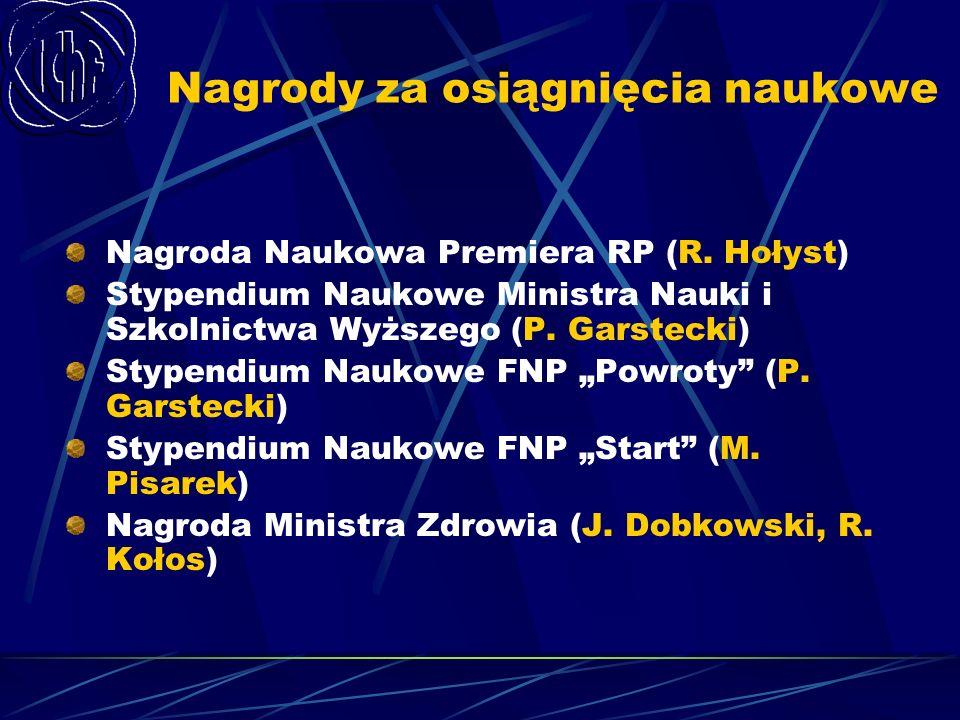 Nagrody za osiągnięcia naukowe Nagroda Naukowa Premiera RP (R. Hołyst) Stypendium Naukowe Ministra Nauki i Szkolnictwa Wyższego (P. Garstecki) Stypend