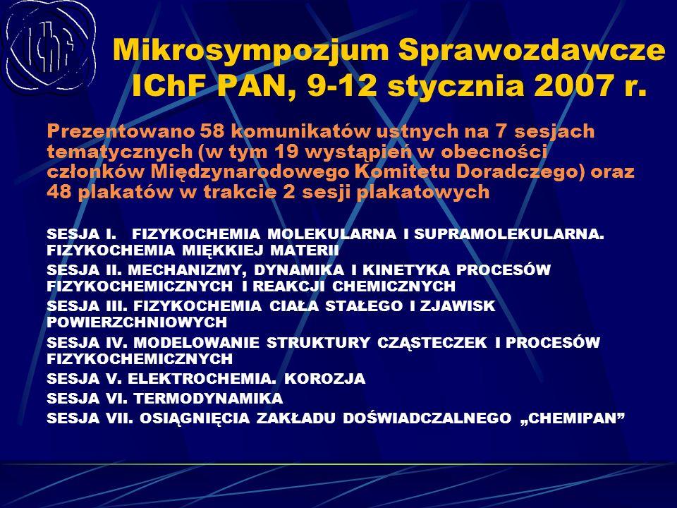Mikrosympozjum Sprawozdawcze IChF PAN, 9-12 stycznia 2007 r. Prezentowano 58 komunikatów ustnych na 7 sesjach tematycznych (w tym 19 wystąpień w obecn