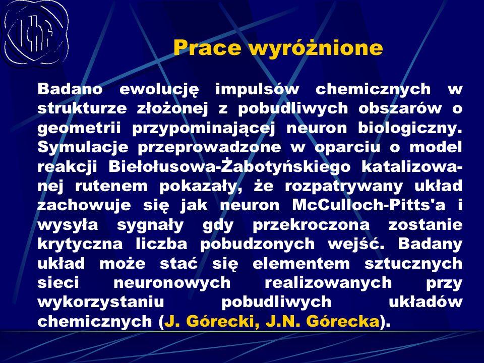 Prace wyróżnione Badano ewolucję impulsów chemicznych w strukturze złożonej z pobudliwych obszarów o geometrii przypominającej neuron biologiczny. Sym