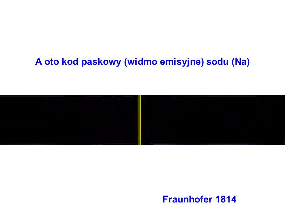 A oto kod paskowy (widmo emisyjne) sodu (Na) Fraunhofer 1814