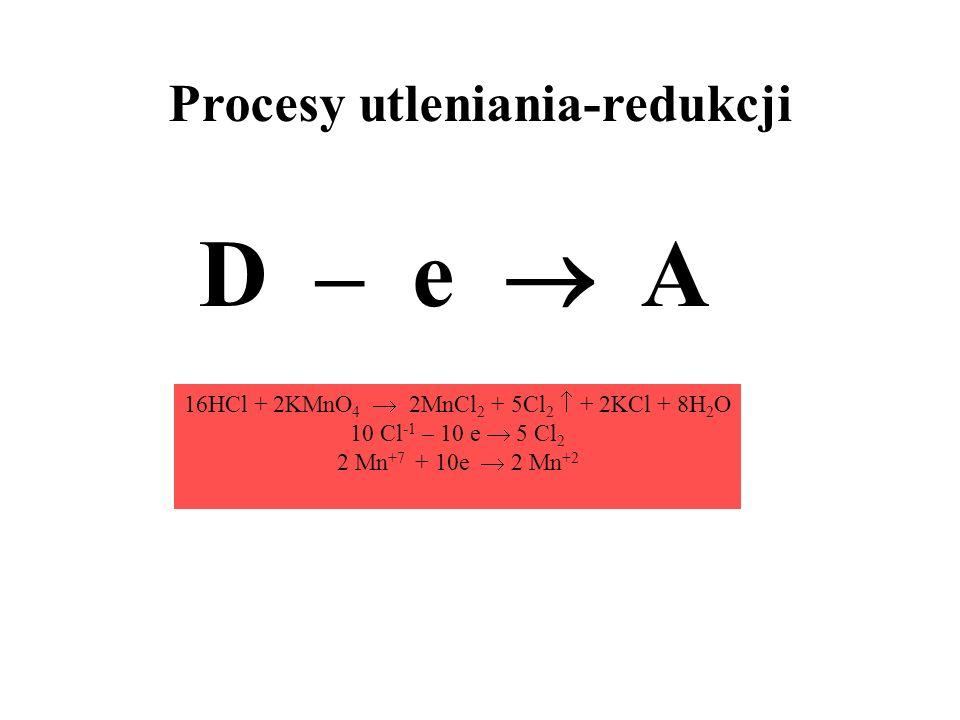 Procesy utleniania-redukcji D – e A 16HCl + 2KMnO 4 2MnCl 2 + 5Cl 2 + 2KCl + 8H 2 O 10 Cl -1 – 10 e 5 Cl 2 2 Mn +7 + 10e 2 Mn +2
