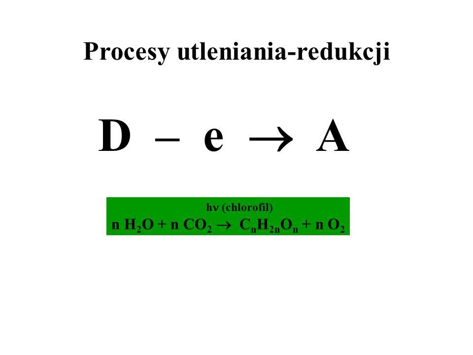 Procesy utleniania-redukcji D – e A h (chlorofil) n H 2 O + n CO 2 C n H 2n O n + n O 2