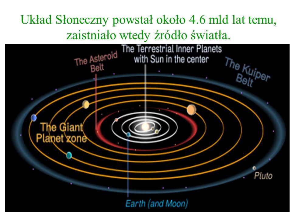 Układ Słoneczny powstał około 4.6 mld lat temu, zaistniało wtedy źródło światła.