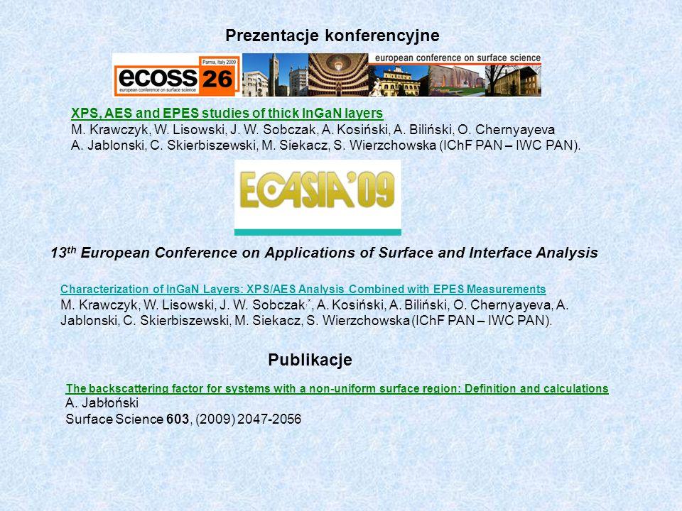 XPS, AES and EPES studies of thick InGaN layers M. Krawczyk, W. Lisowski, J. W. Sobczak, A. Kosiński, A. Biliński, O. Chernyayeva A. Jablonski, C. Ski