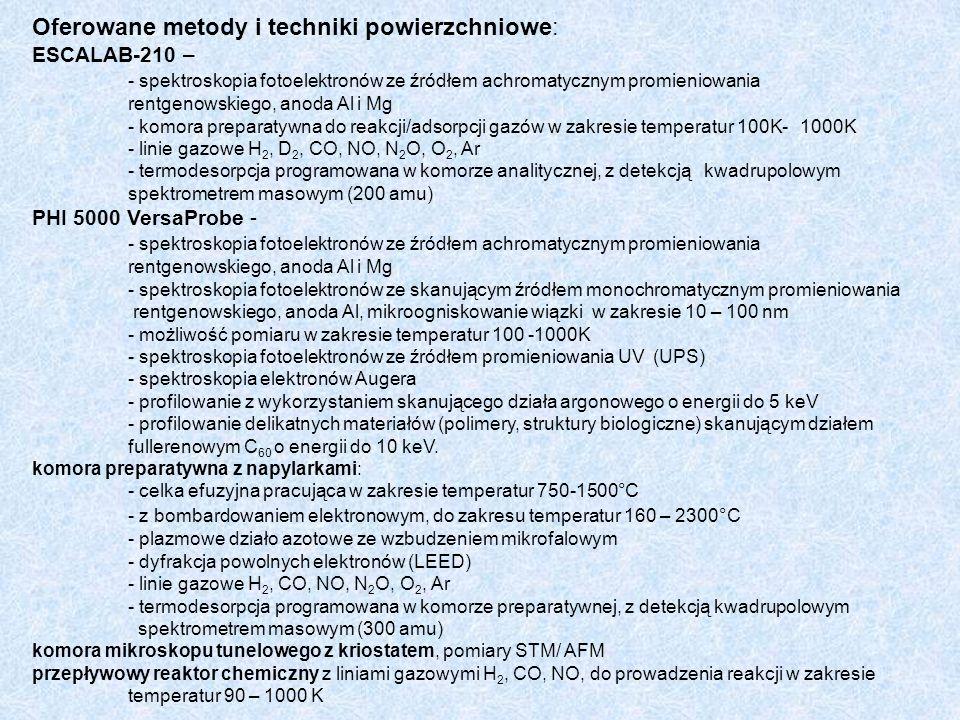 Oferowane metody i techniki powierzchniowe: ESCALAB-210 – - spektroskopia fotoelektronów ze źródłem achromatycznym promieniowania rentgenowskiego, ano