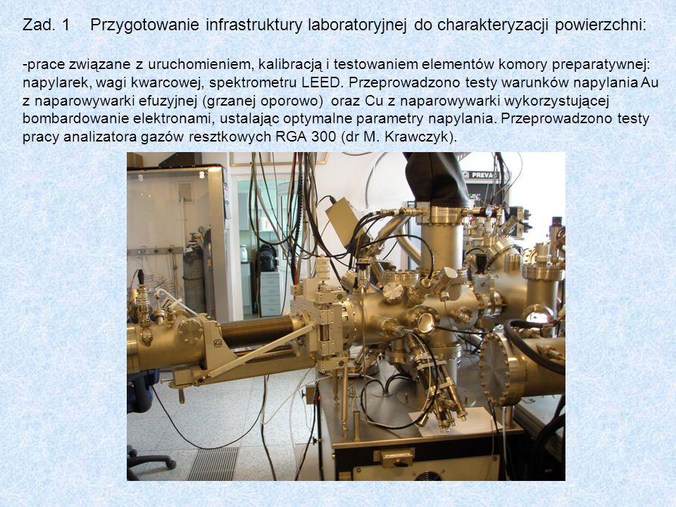 Oferowane metody i techniki powierzchniowe: ESCALAB-210 – - spektroskopia fotoelektronów ze źródłem achromatycznym promieniowania rentgenowskiego, anoda Al i Mg - komora preparatywna do reakcji/adsorpcji gazów w zakresie temperatur 100K- 1000K - linie gazowe H 2, D 2, CO, NO, N 2 O, O 2, Ar - termodesorpcja programowana w komorze analitycznej, z detekcją kwadrupolowym spektrometrem masowym (200 amu) PHI 5000 VersaProbe - - spektroskopia fotoelektronów ze źródłem achromatycznym promieniowania rentgenowskiego, anoda Al i Mg - spektroskopia fotoelektronów ze skanującym źródłem monochromatycznym promieniowania rentgenowskiego, anoda Al, mikroogniskowanie wiązki w zakresie 10 – 100 nm - możliwość pomiaru w zakresie temperatur 100 -1000K - spektroskopia fotoelektronów ze źródłem promieniowania UV (UPS) - spektroskopia elektronów Augera - profilowanie z wykorzystaniem skanującego działa argonowego o energii do 5 keV - profilowanie delikatnych materiałów (polimery, struktury biologiczne) skanującym działem fullerenowym C 60 o energii do 10 keV.