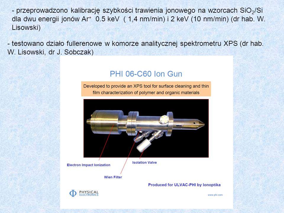- testowano działo fullerenowe w komorze analitycznej spektrometru XPS (dr hab. W. Lisowski, dr J. Sobczak) - przeprowadzono kalibrację szybkości traw