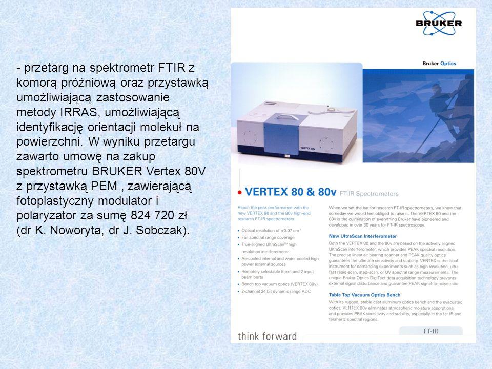 - przetarg na spektrometr FTIR z komorą próżniową oraz przystawką umożliwiającą zastosowanie metody IRRAS, umożliwiającą identyfikację orientacji mole