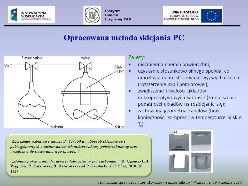 Opracowana metoda sklejania PC Zalety: niezmienna chemia powierzchni; uzyskanie stosunkowo silnego spoiwa, co umożliwia m.