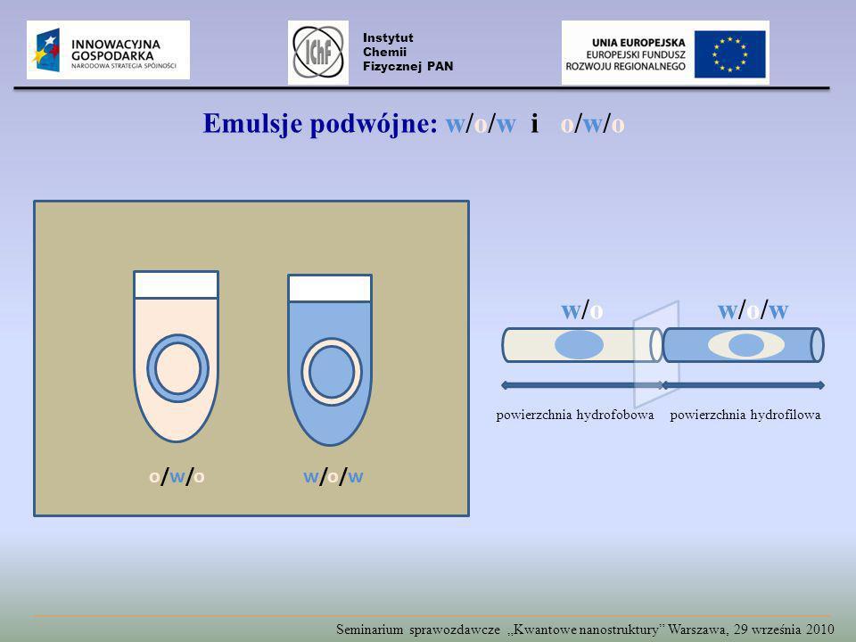 Seminarium sprawozdawcze Kwantowe nanostruktury Warszawa, 29 września 2010 w/o/ww/o/wo/w/oo/w/o powierzchnia hydrofilowapowierzchnia hydrofobowa Instytut Chemii Fizycznej PAN Emulsje podwójne: w/o/w i o/w/o w/ow/ow/o/ww/o/w