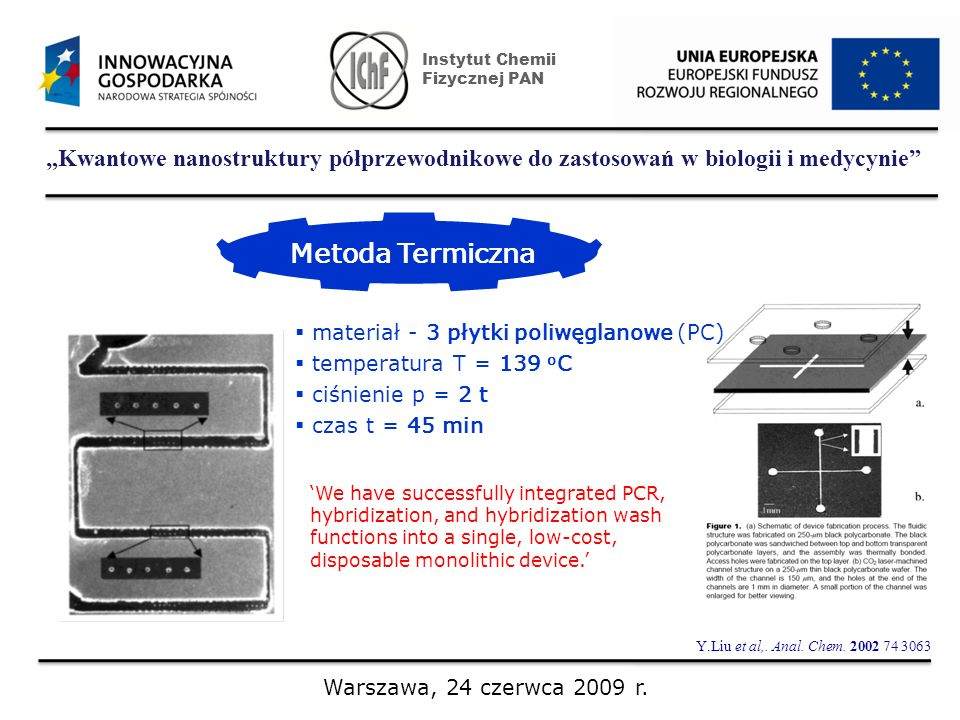 Kwantowe nanostruktury półprzewodnikowe do zastosowań w biologii i medycynie Instytut Chemii Fizycznej PAN Warszawa, 24 czerwca 2009 r. Metoda Termicz