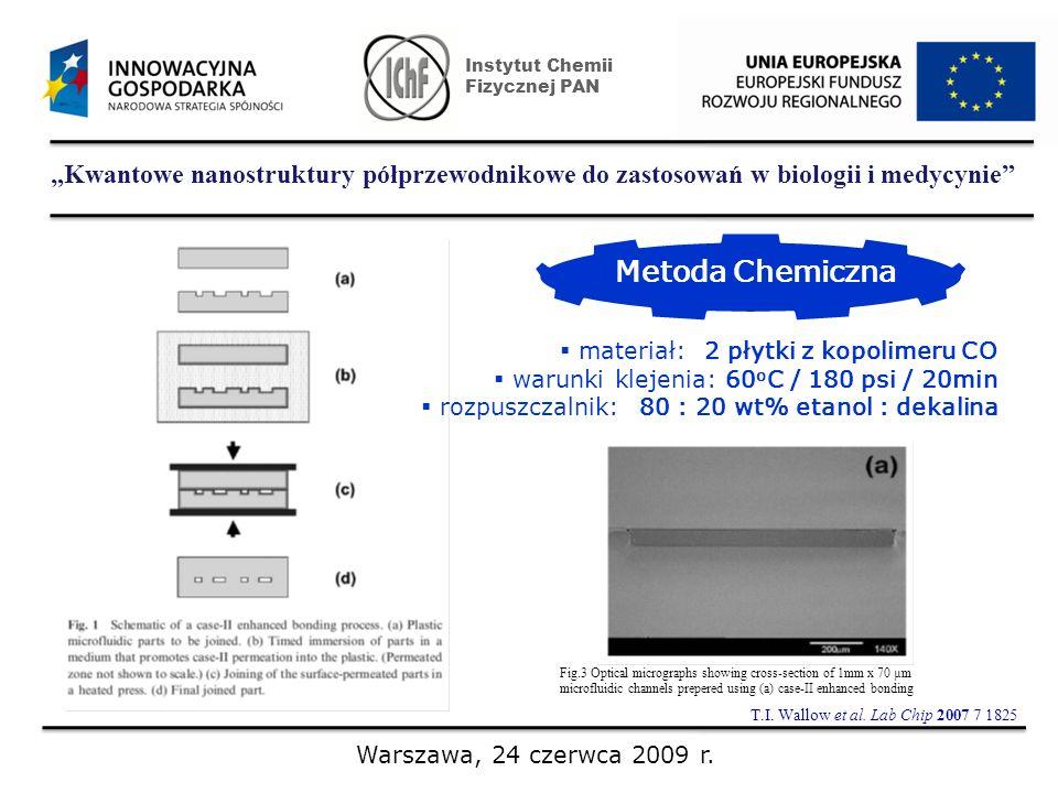 Kwantowe nanostruktury półprzewodnikowe do zastosowań w biologii i medycynie Instytut Chemii Fizycznej PAN Warszawa, 24 czerwca 2009 r. Metoda Chemicz