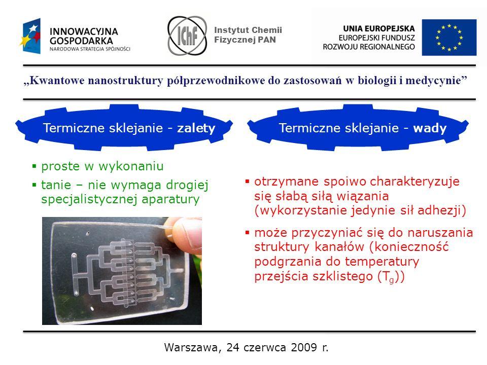 Kwantowe nanostruktury półprzewodnikowe do zastosowań w biologii i medycynie Instytut Chemii Fizycznej PAN Warszawa, 24 czerwca 2009 r. Termiczne skle