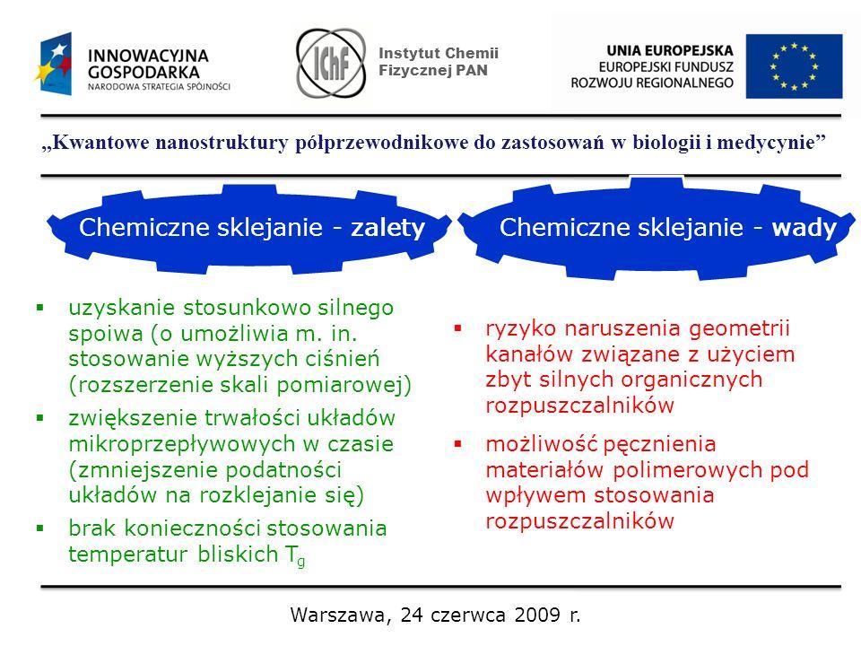 Kwantowe nanostruktury półprzewodnikowe do zastosowań w biologii i medycynie Instytut Chemii Fizycznej PAN Warszawa, 24 czerwca 2009 r. Chemiczne skle