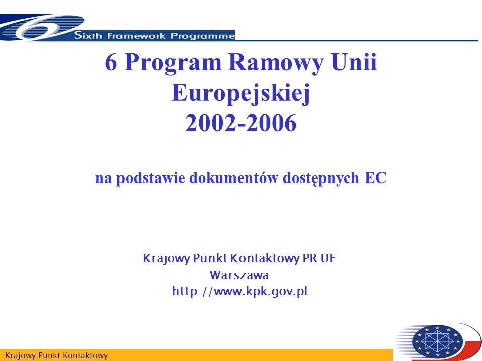 Krajowy Punkt Kontaktowy 6 Program Ramowy Unii Europejskiej 2002-2006 na podstawie dokumentów dostępnych EC Krajowy Punkt Kontaktowy PR UE Warszawa http://www.kpk.gov.pl