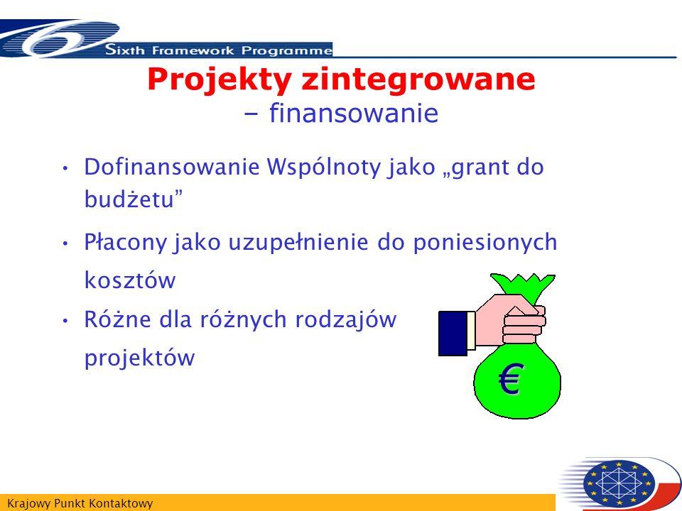 Krajowy Punkt Kontaktowy Projekty zintegrowane – finansowanie Dofinansowanie Wspólnoty jako grant do budżetu Płacony jako uzupełnienie do poniesionych kosztów Różne dla różnych rodzajów projektów