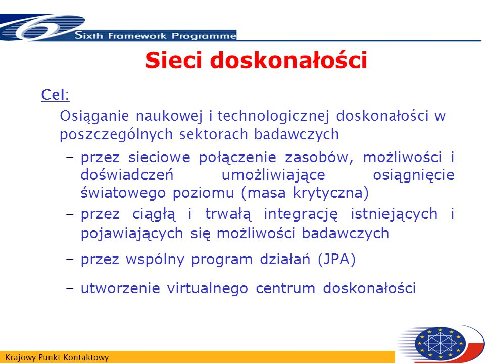 Krajowy Punkt Kontaktowy Sieci doskonałości Cel: Osiąganie naukowej i technologicznej doskonałości w poszczególnych sektorach badawczych –przez sieciowe połączenie zasobów, możliwości i doświadczeń umożliwiające osiągnięcie światowego poziomu (masa krytyczna) –przez ciągłą i trwałą integrację istniejących i pojawiających się możliwości badawczych –przez wspólny program działań (JPA) –utworzenie virtualnego centrum doskonałości