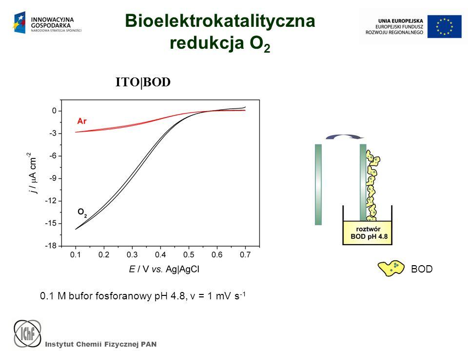 Instytut Chemii Fizycznej PAN ITO BOD 0.1 M bufor fosforanowy pH 4.8, v = 1 mV s -1 Bioelektrokatalityczna redukcja O 2 BOD