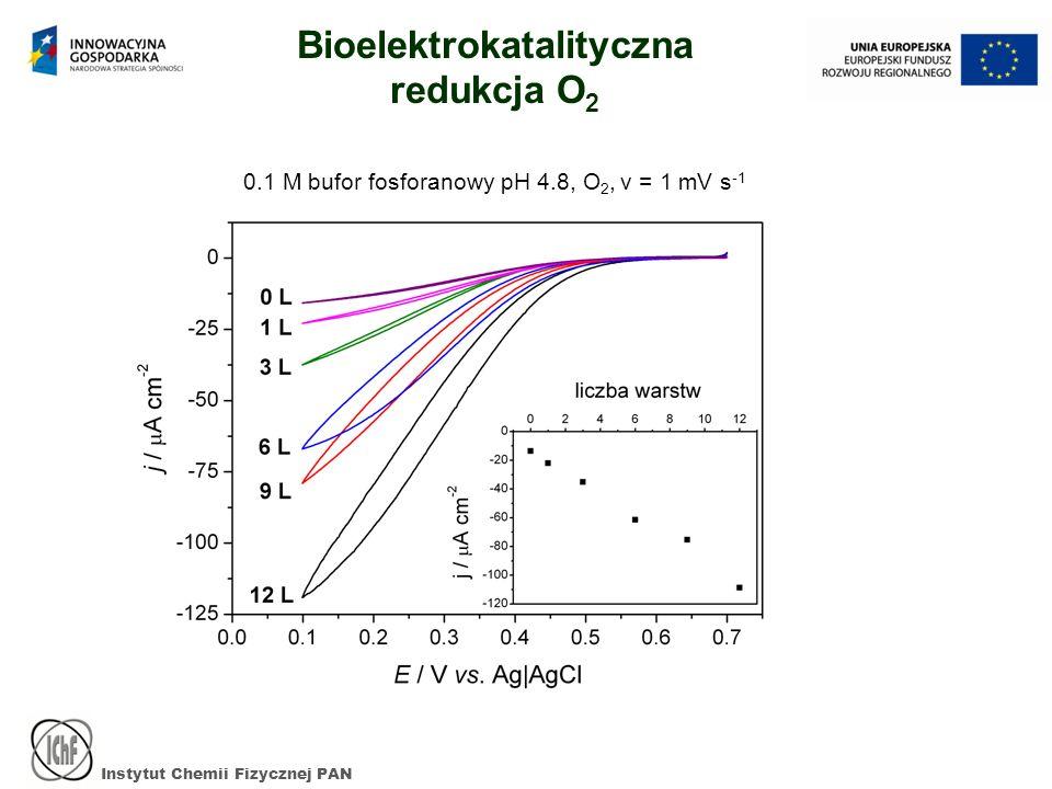 Instytut Chemii Fizycznej PAN Bioelektrokatalityczna redukcja O 2 0.1 M bufor fosforanowy pH 4.8, O 2, v = 1 mV s -1