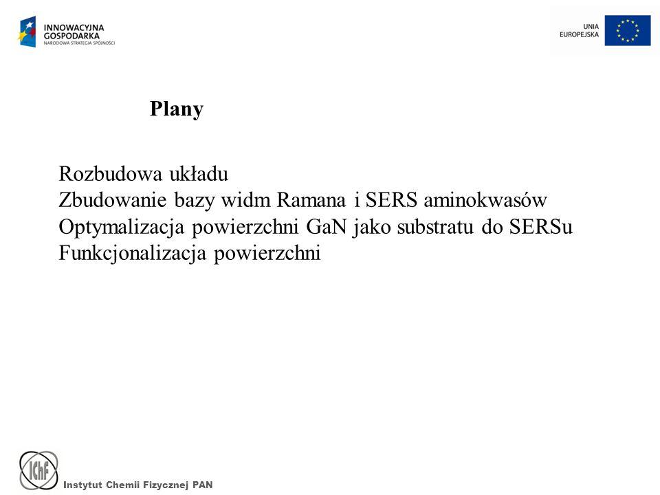 Instytut Chemii Fizycznej PAN Plany Rozbudowa układu Zbudowanie bazy widm Ramana i SERS aminokwasów Optymalizacja powierzchni GaN jako substratu do SE