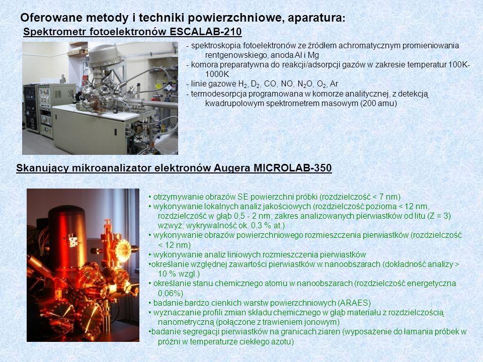 Oferowane metody i techniki powierzchniowe, aparatura : Spektrometr fotoelektronów ESCALAB-210 - spektroskopia fotoelektronów ze źródłem achromatyczny