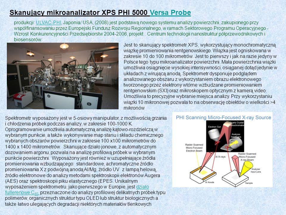 Skanujący mikroanalizator XPS PHI 5000 Versa ProbeVersa Probe produkcji: ULVAC-PHI, Japonia/ USA, (2008) jest podstawą nowego systemu analizy powierzc