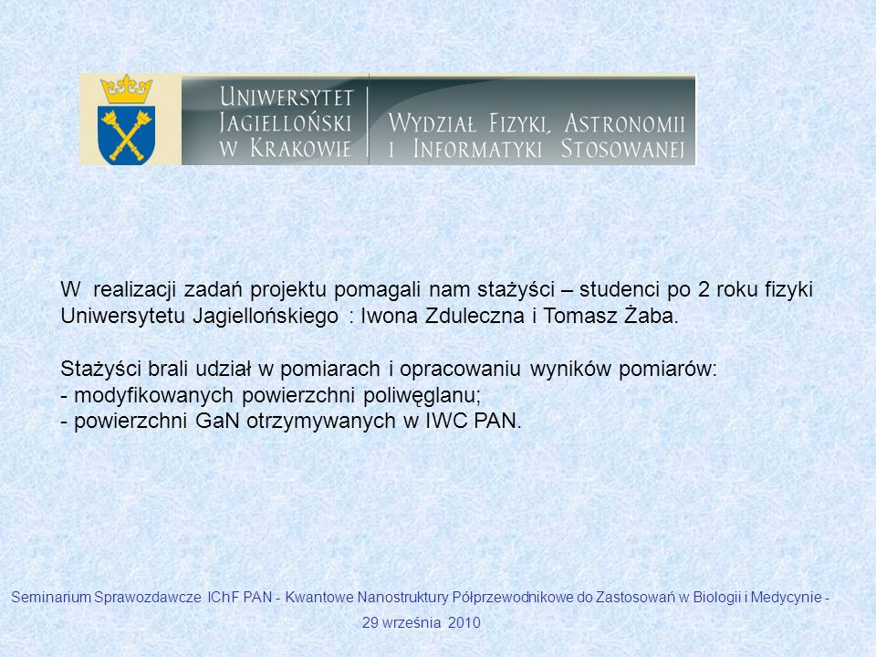 W realizacji zadań projektu pomagali nam stażyści – studenci po 2 roku fizyki Uniwersytetu Jagiellońskiego : Iwona Zduleczna i Tomasz Żaba. Stażyści b