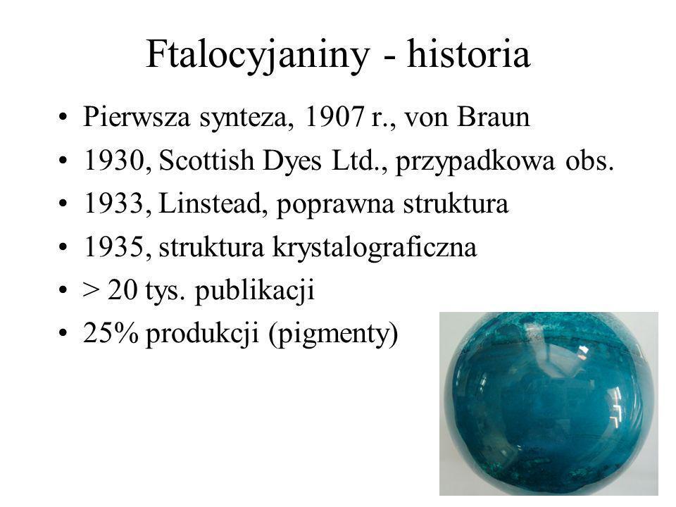 Ftalocyjaniny - historia Pierwsza synteza, 1907 r., von Braun 1930, Scottish Dyes Ltd., przypadkowa obs. 1933, Linstead, poprawna struktura 1935, stru