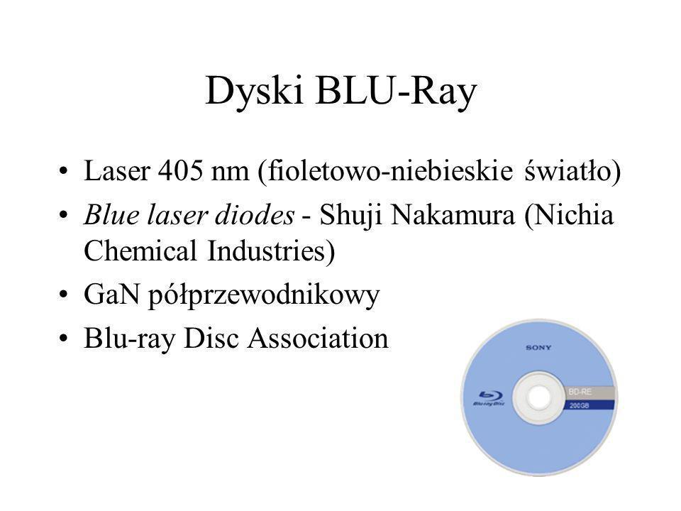 Dyski BLU-Ray Laser 405 nm (fioletowo-niebieskie światło) Blue laser diodes - Shuji Nakamura (Nichia Chemical Industries) GaN półprzewodnikowy Blu-ray