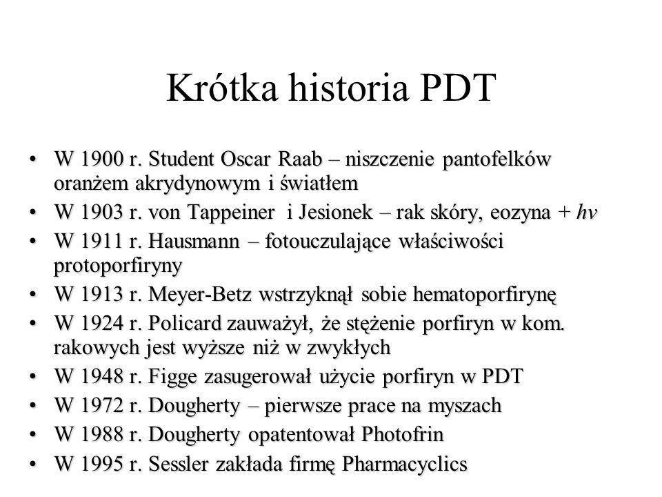 Krótka historia PDT W 1900 r. Student Oscar Raab – niszczenie pantofelków oranżem akrydynowym i światłemW 1900 r. Student Oscar Raab – niszczenie pant
