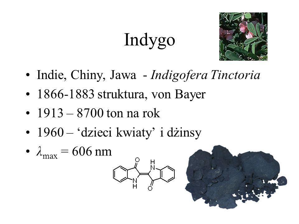 Indygo Indie, Chiny, Jawa - Indigofera Tinctoria 1866-1883 struktura, von Bayer 1913 – 8700 ton na rok 1960 – dzieci kwiaty i dżinsy λ max = 606 nm