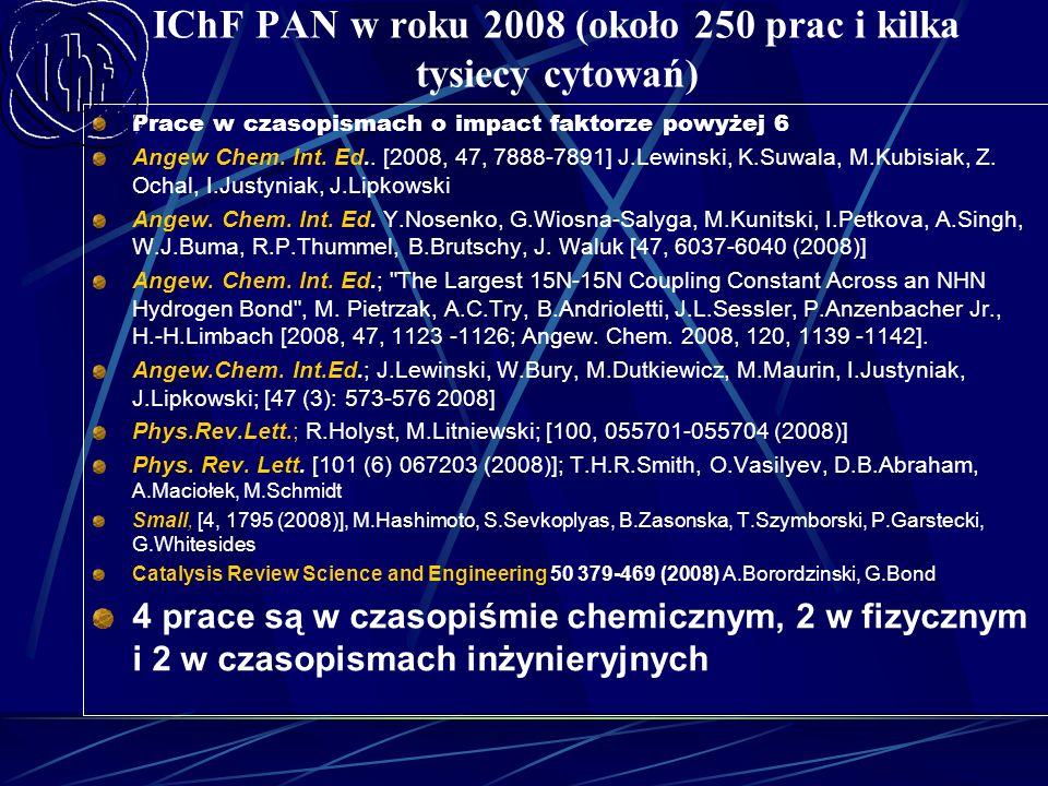 IChF PAN w roku 2008 (około 250 prac i kilka tysiecy cytowań) Prace w czasopismach o impact faktorze powyżej 6 Angew Chem. Int. Ed.. [2008, 47, 7888-7