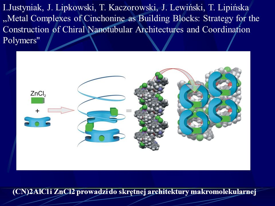 I.Justyniak, J. Lipkowski, T. Kaczorowski, J. Lewiński, T. Lipińska Metal Complexes of Cinchonine as Building Blocks: Strategy for the Construction of