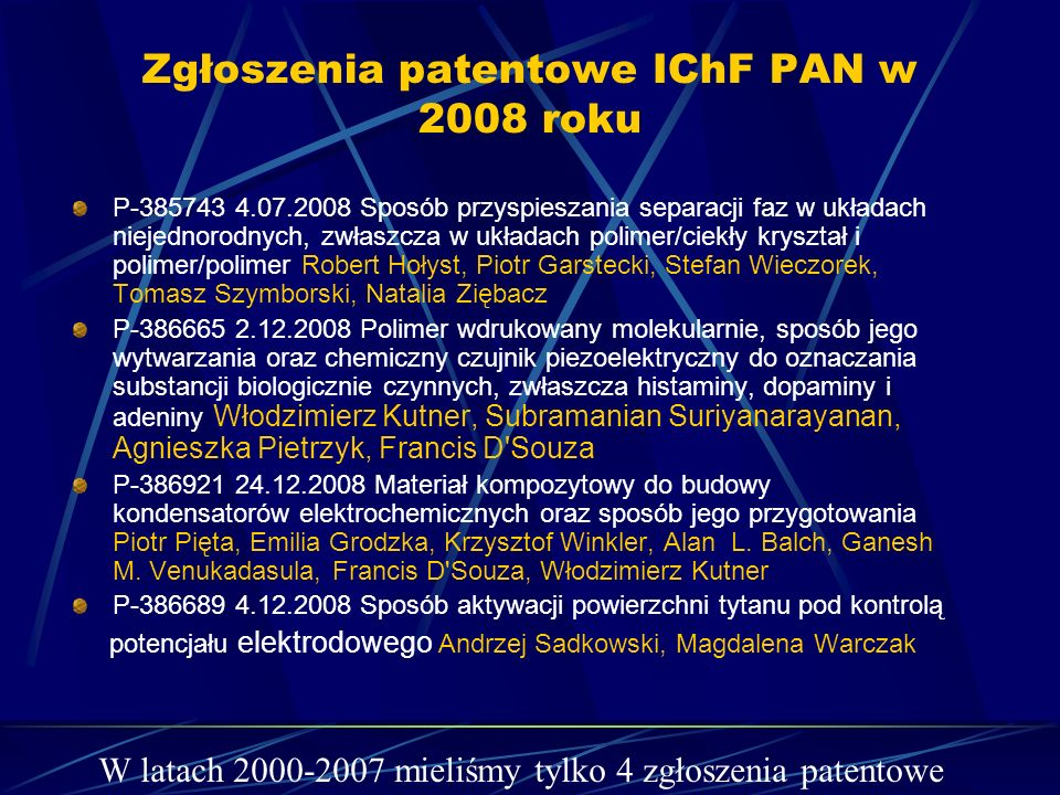 Zgłoszenia patentowe IChF PAN w 2008 roku P-385743 4.07.2008 Sposób przyspieszania separacji faz w układach niejednorodnych, zwłaszcza w układach poli