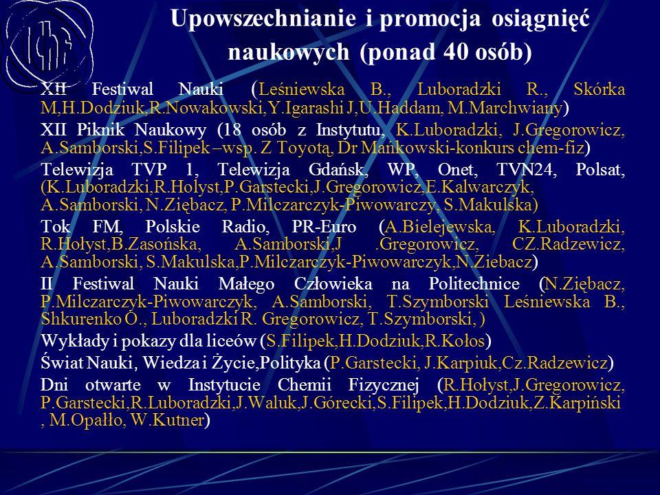 Upowszechnianie i promocja osiągnięć naukowych (ponad 40 osób) XII Festiwal Nauki ( Leśniewska B., Luboradzki R., Skórka M,H.Dodziuk,R.Nowakowski,Y.Ig