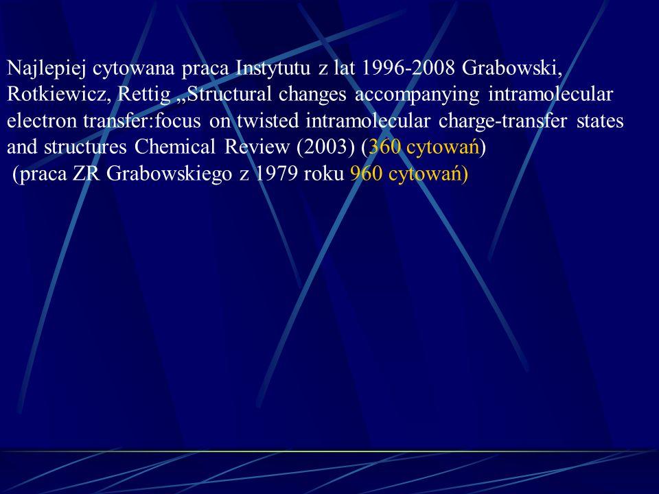 Najlepiej cytowana praca Instytutu z lat 1996-2008 Grabowski, Rotkiewicz, Rettig Structural changes accompanying intramolecular electron transfer:focu