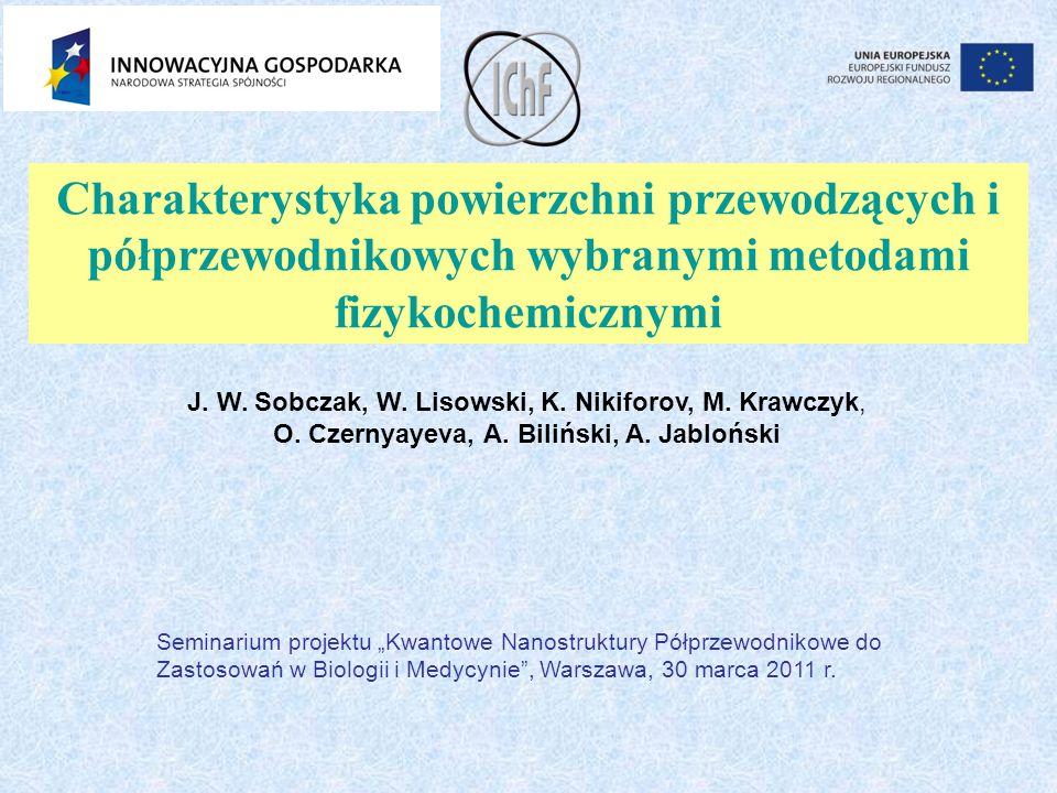 Charakterystyka powierzchni przewodzących i półprzewodnikowych wybranymi metodami fizykochemicznymi J. W. Sobczak, W. Lisowski, K. Nikiforov, M. Krawc