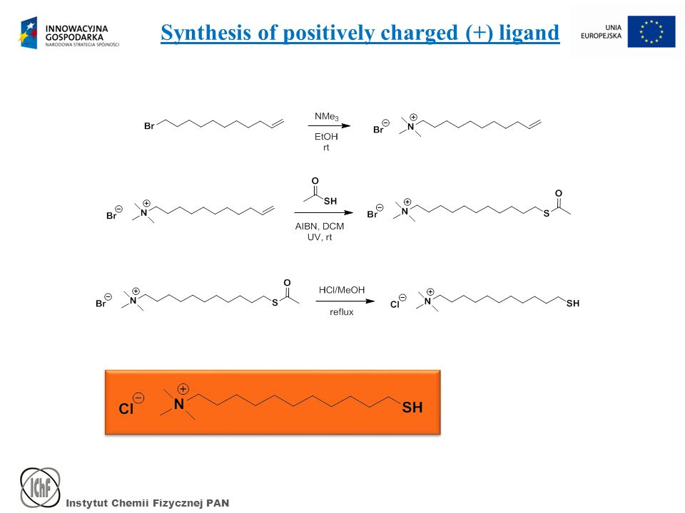 Instytut Chemii Fizycznej PAN Effective surface-charge density Monolayer is transferred onto Teflon plate The monolayer covering is dispersed in MeOH Zeta potential is measured Q ef = 4πε r ε 0 ζR Q coating = 3.9x10 -3 C/m 2 Q ef = 4.25 e