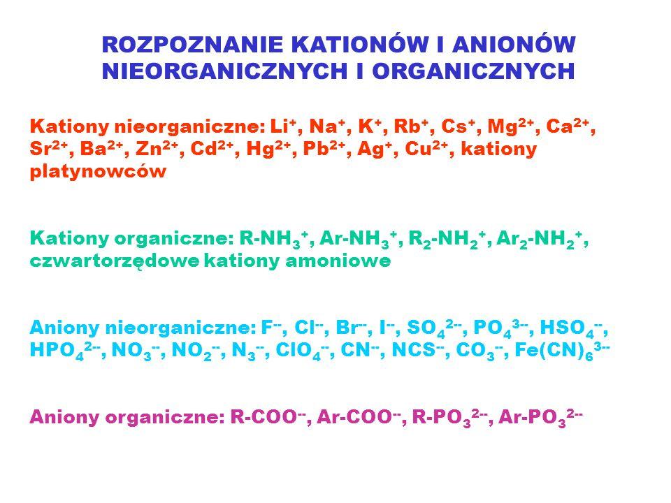 ROZPOZNANIE KATIONÓW I ANIONÓW NIEORGANICZNYCH I ORGANICZNYCH Kationy nieorganiczne: Li +, Na +, K +, Rb +, Cs +, Mg 2+, Ca 2+, Sr 2+, Ba 2+, Zn 2+, Cd 2+, Hg 2+, Pb 2+, Ag +, Cu 2+, kationy platynowców Kationy organiczne: R-NH 3 +, Ar-NH 3 +, R 2 -NH 2 +, Ar 2 -NH 2 +, czwartorzędowe kationy amoniowe Aniony nieorganiczne: F --, Cl --, Br --, I --, SO 4 2--, PO 4 3--, HSO 4 --, HPO 4 2--, NO 3 --, NO 2 --, N 3 --, ClO 4 --, CN --, NCS --, CO 3 --, Fe(CN) 6 3-- Aniony organiczne: R-COO --, Ar-COO --, R-PO 3 2--, Ar-PO 3 2--