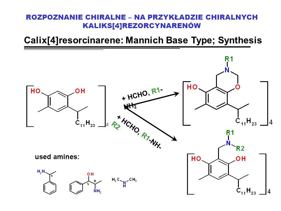ROZPOZNANIE CHIRALNE – NA PRZYKŁADZIE CHIRALNYCH KALIKS[4]REZORCYNARENÓW Calix[4]resorcinarene: Mannich Base Type; Synthesis + HCHO, R1- NH 2 + HCHO, R1-NH- R2 used amines: